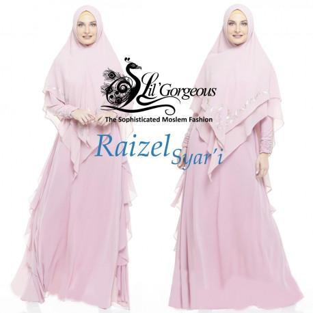 gamis syar'i raizel syar'i by Lil gorgeous soft pink