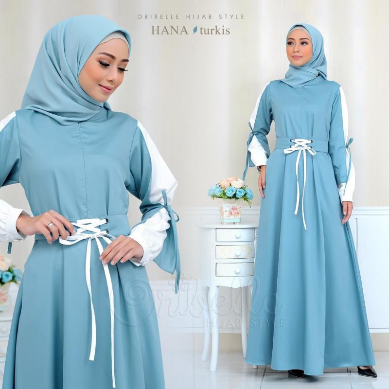 gamis terbaru Hana By Oribelle Hijab blue