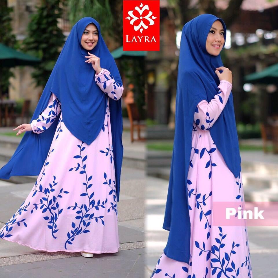 gamis terbaru Zizah syari by layra collection pink