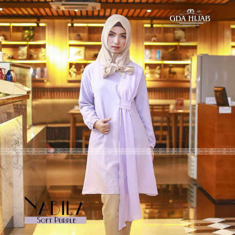 gamis terbaru nabila tunik by GDA soft purple