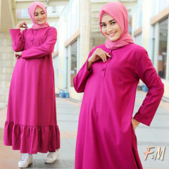 model baju gamis Alina dress by fm fashion Fusia