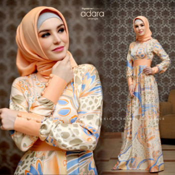 model baju gamis terbaru adara dress by cynarra orange