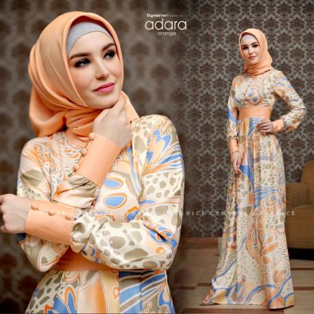 model baju gamis terbaru adara dress by cynarra orange