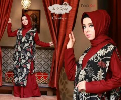 model baju muslim terbaru chantique by syfa rose black red