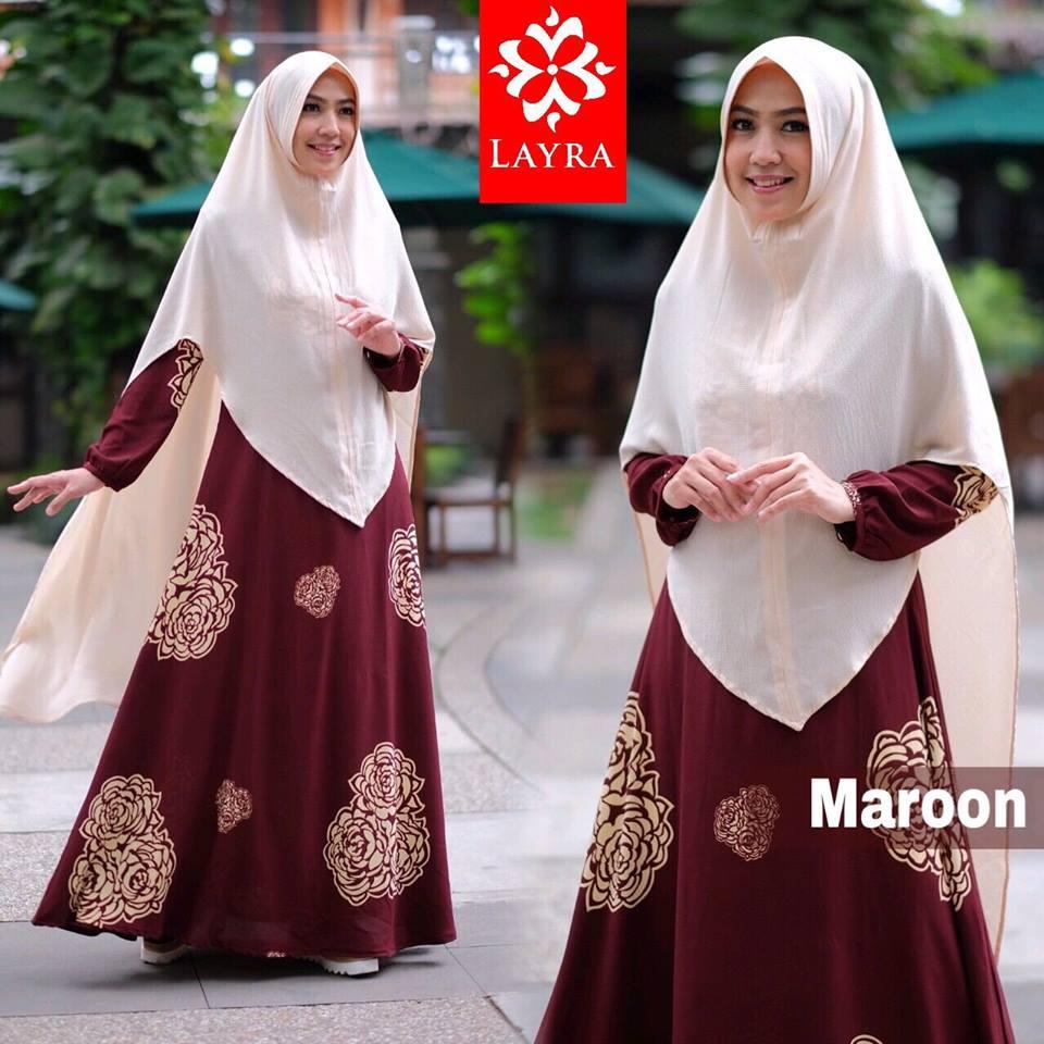 model gamis terbaru Zizah syari by layra collection maroon
