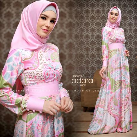 model gamis terbaru adara dress by cynarra pink