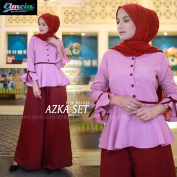 Azka Set Pink Maroon