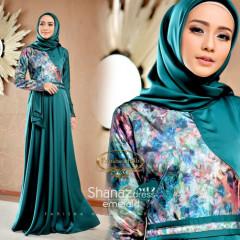 Shanaz Dress Emerald Blue
