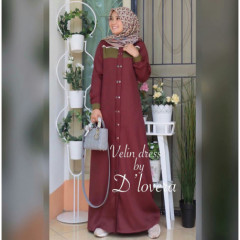 Velin Dress Maroon