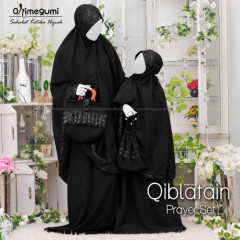 Mukena Qiblatain Black