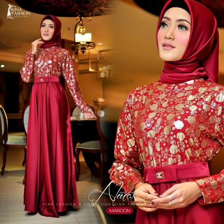 Almas Dress Maroon