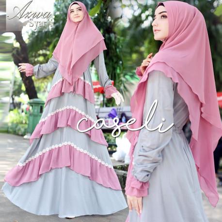Azwa Syari Pink Grey