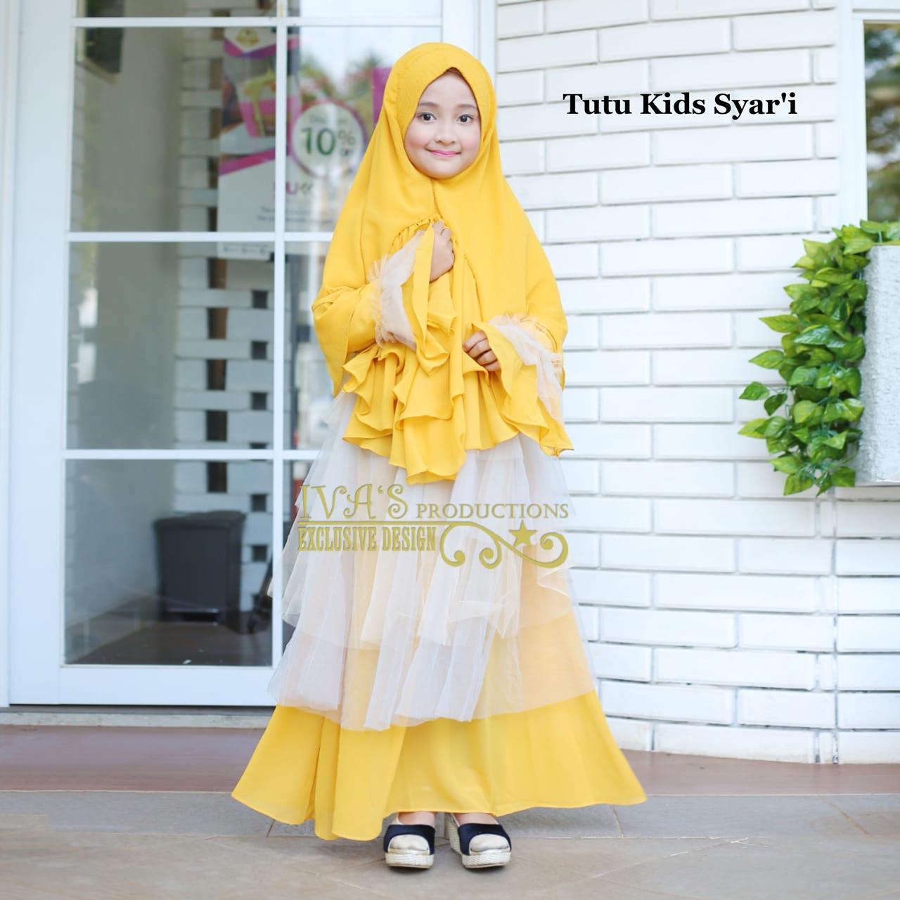 Busana muslim anak tutu kids syari ivas yellow