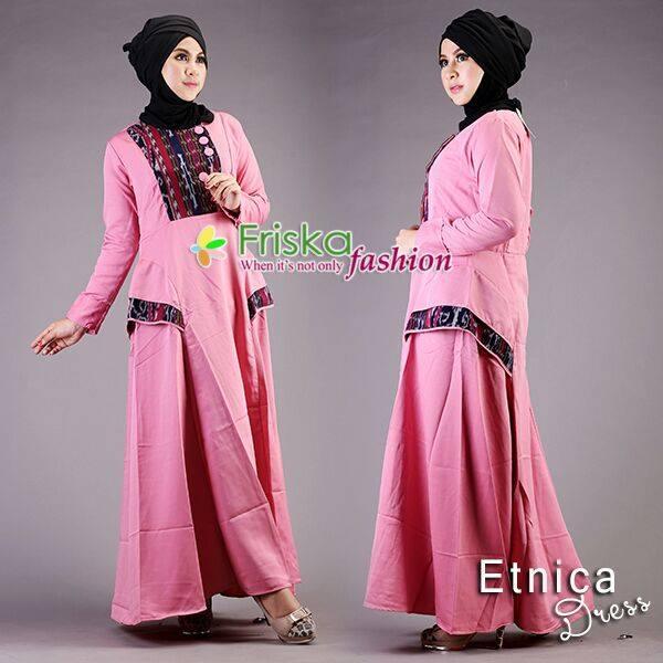 Etnica Pink Baju Muslim Gamis Modern