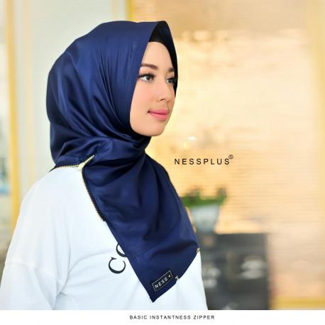 Jilbab Zipper Navy