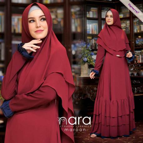 Nara Syari By Cynarra Maroon