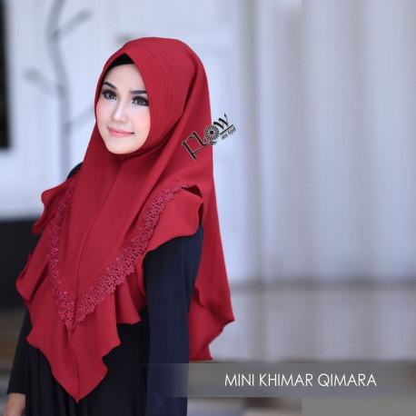 Mini Khimar Qimara Merah Tua