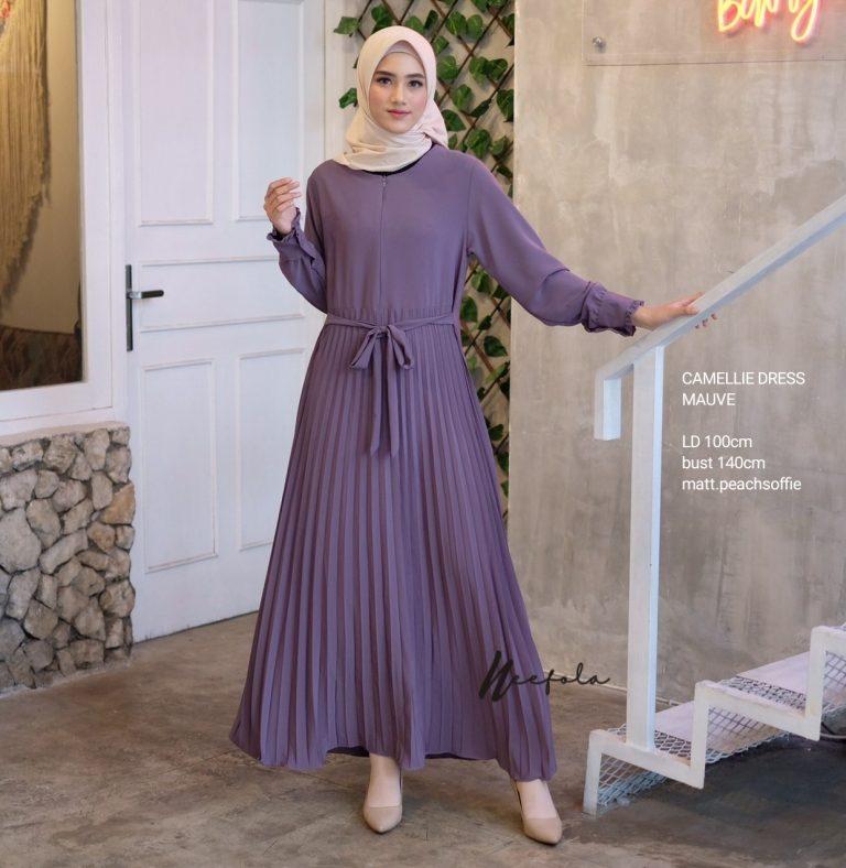 Camellie Dress Warna Mauve Purple