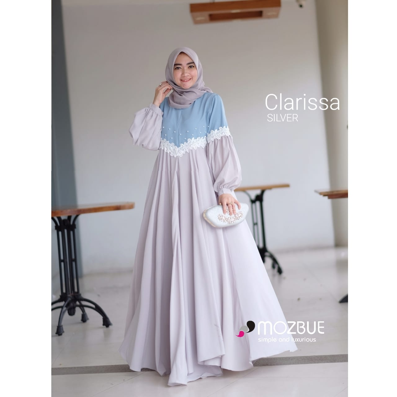 Clarissa Dress Warna Silver