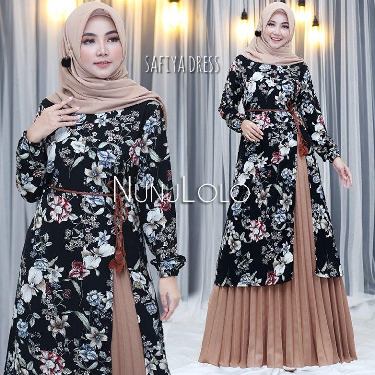 Safiya Dress New Colour Warna Coklat Susu
