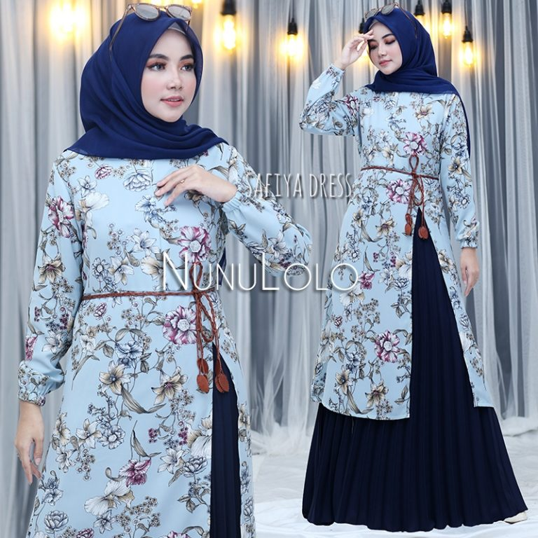Safiya Dress New Colour Warna Navy Blue