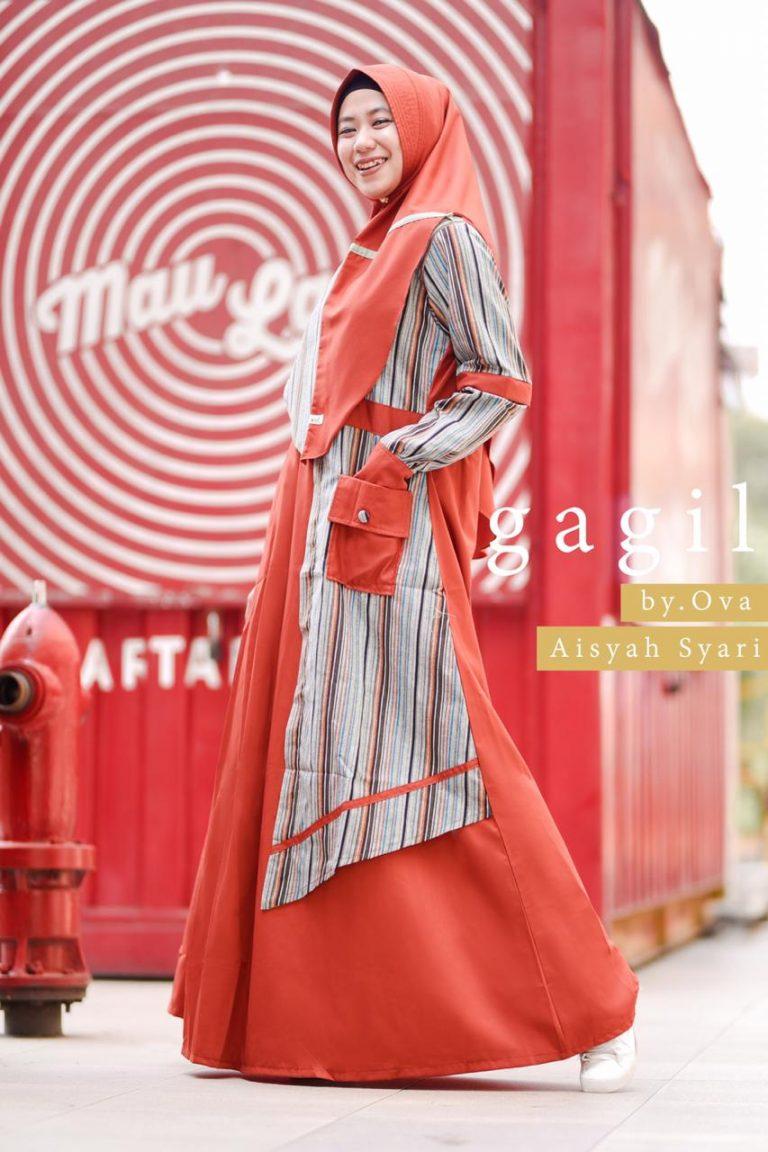 Aisyah Syar'i By Gagil Warna Merah Bata