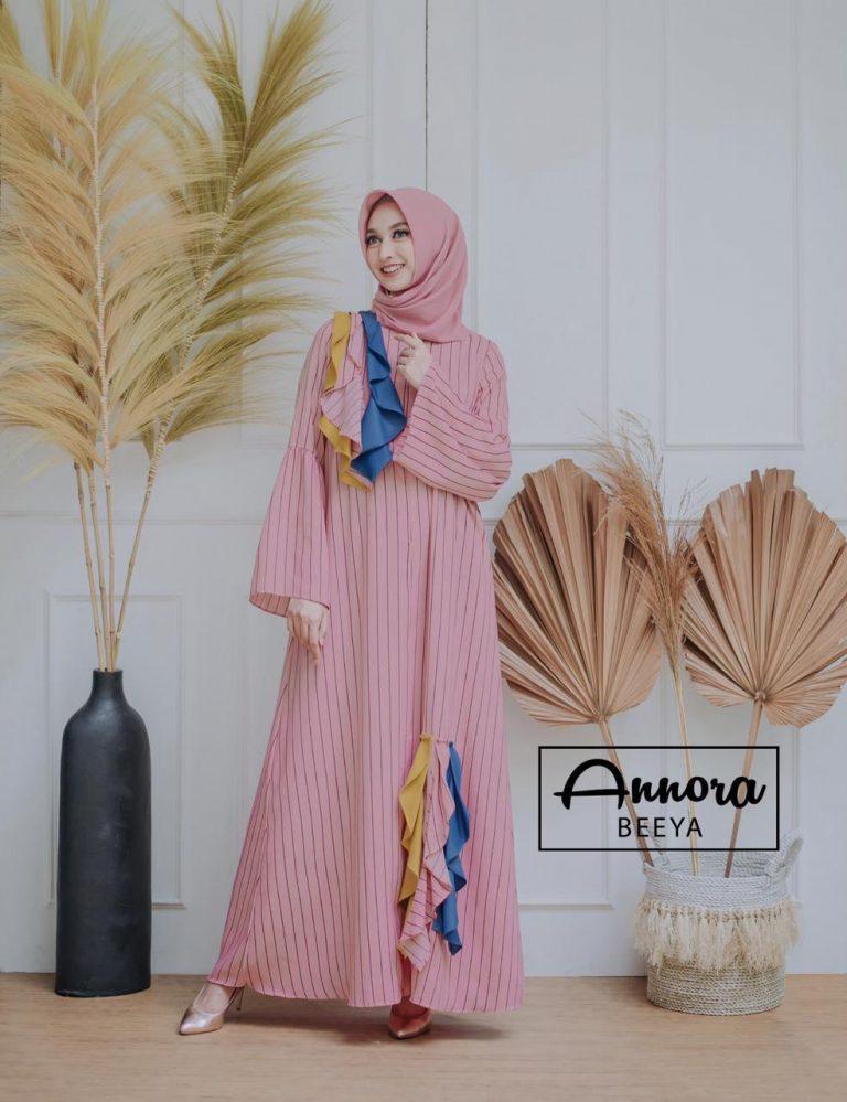 Beeya Dress Casual Warna Dusty Pink