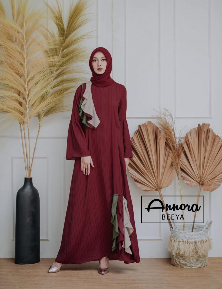 Beeya Dress Casual Warna Maroon