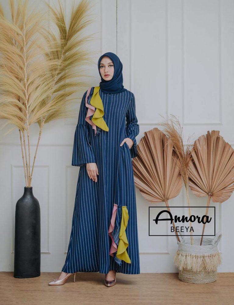 Beeya Dress Casual Warna Navy bLue
