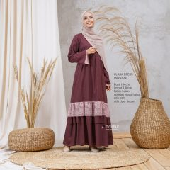 Clara Dress Warna Maroon