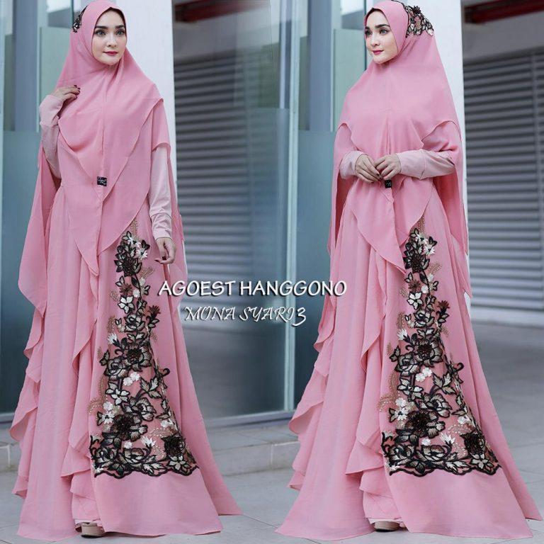 Mona Syar'i 3 Warna Dusty Pink