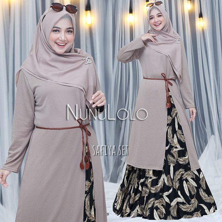 New Colour Safiya Set Warna Coklat Susu