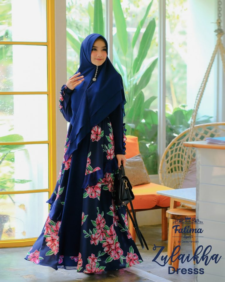 Zulaikha Floral Dress Warna Navy Pink