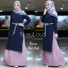 Fania Set Rok Warna Navy Blue
