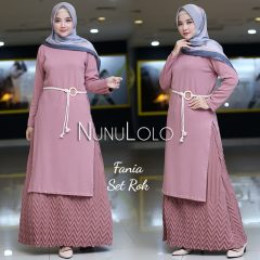 Fania Set Rok Warna Dusty Pink