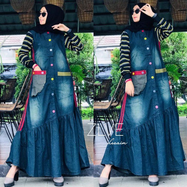 Gamis Jeans Wash warna Lengan Black