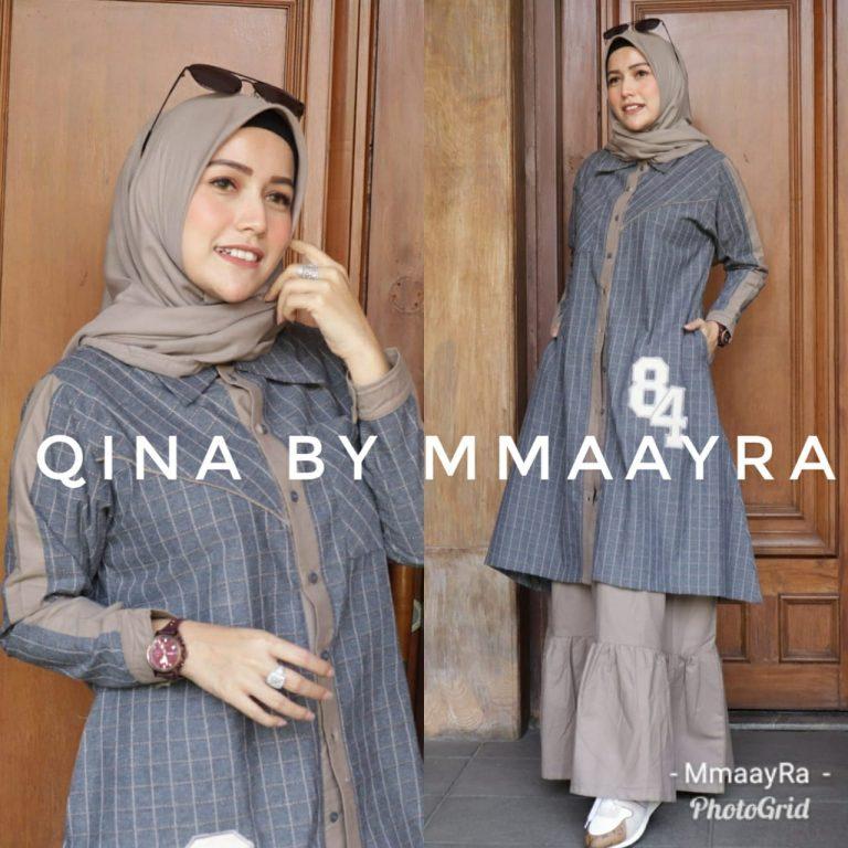 Qina Set Rok Warna Grey