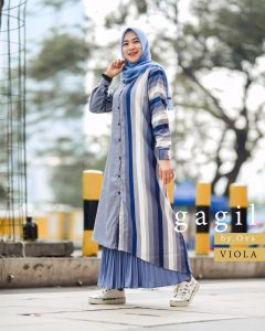 Viona Set Rok Warna Blue