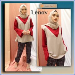 Lenov Set Warna Maroon Cream