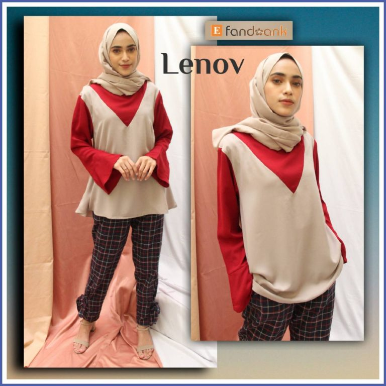 Lenov Set Warna Maroon Cream