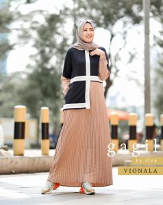 Vionala Dress Warna Coklat Susu