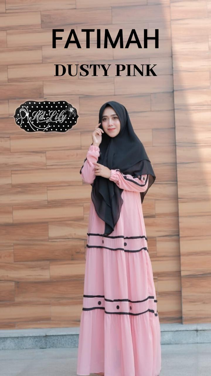Fatimah Dress Warna Dusty Pink