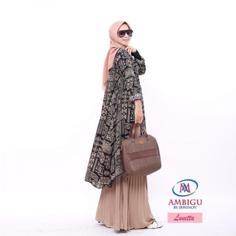 Lunetta Long Tunik Warna Black