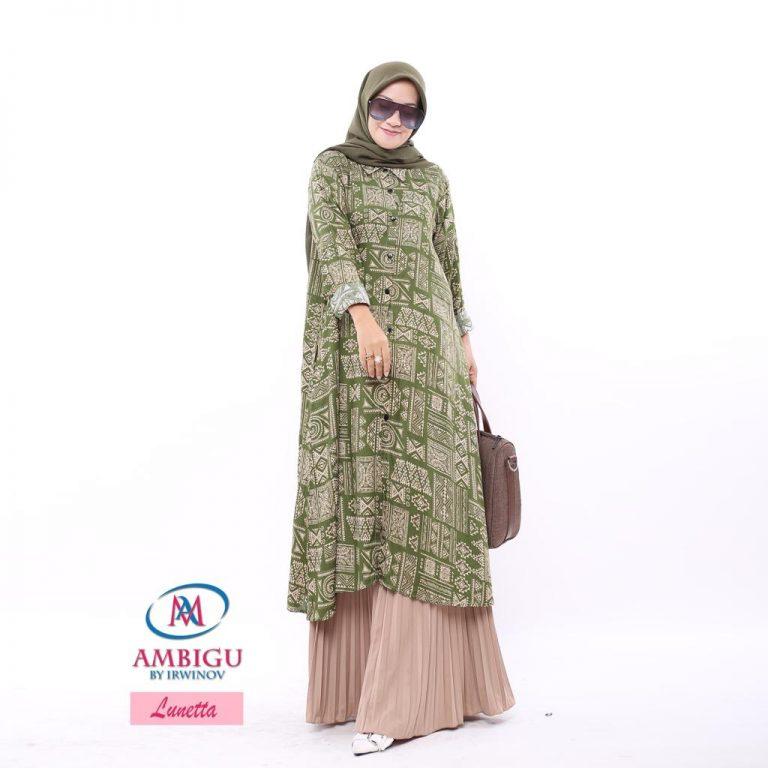 Lunetta Long Tunik Warna Green
