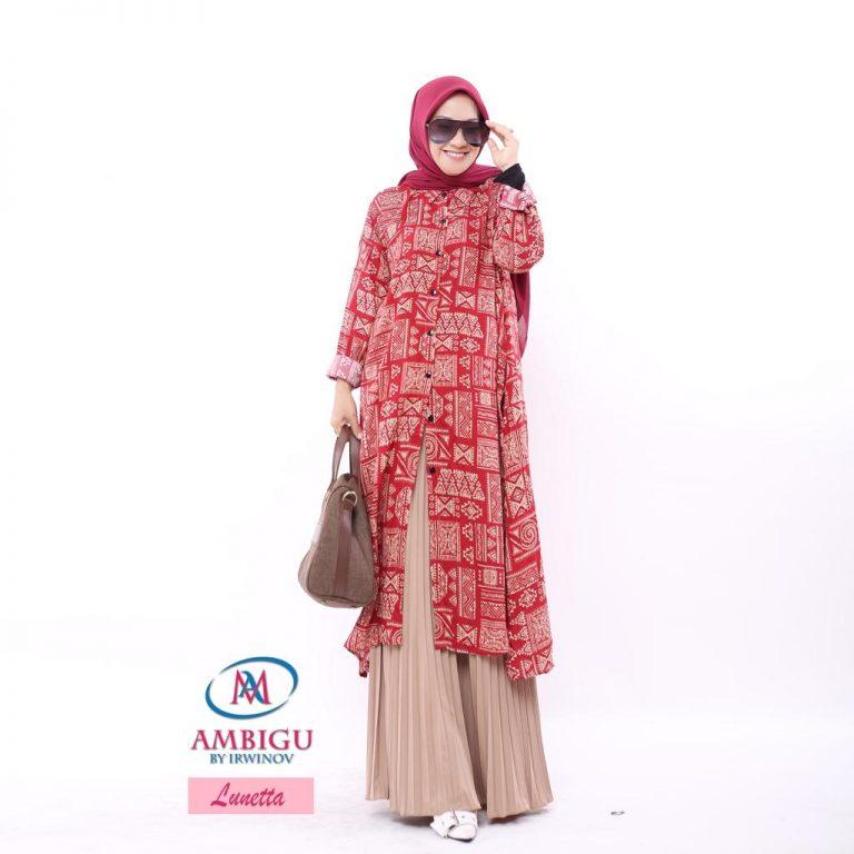Lunetta Long Tunik Warna Red