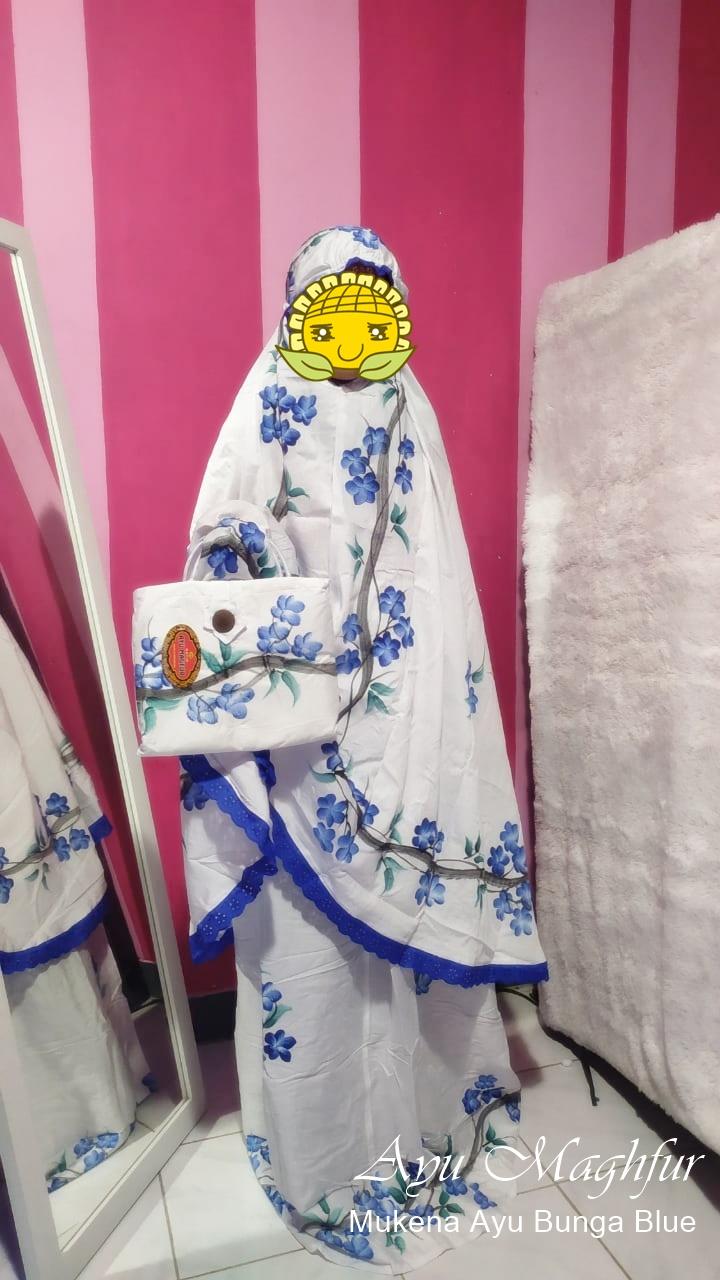 Mukena Bunga Ayu Warna Biru Tua
