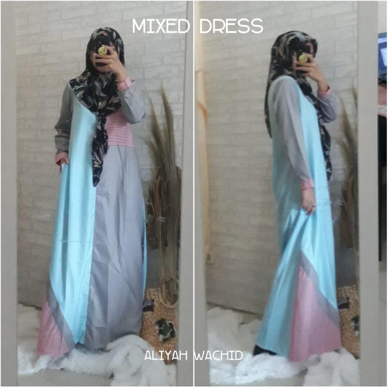 Mixed Dress Warna Blue Grey