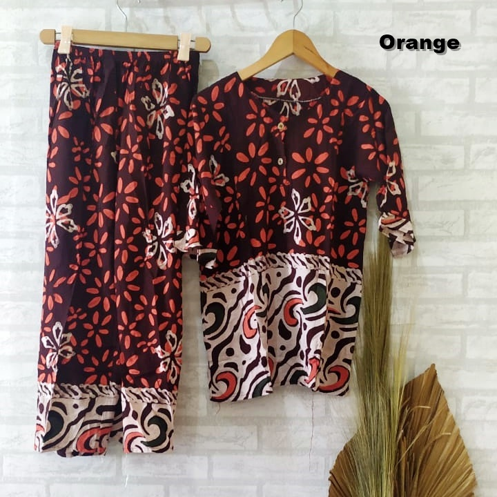 Setelan Piyama Batik Warna Orange